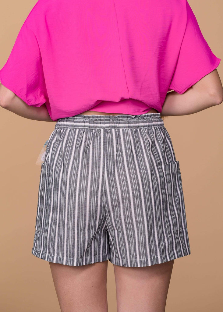 cotto Shorts Striped Shorts With Tie Waist - Black