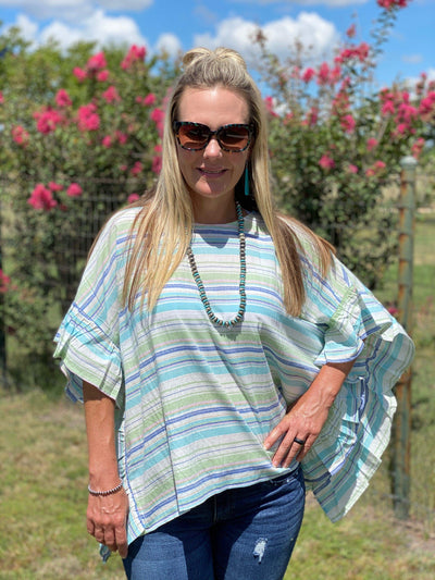 Cotton Bleu Dressy Ruffle Edged Striped Poncho - Lime and Blue