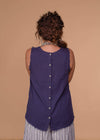 Cotton Bleu Dressy Sleeveless Button Down Back Top