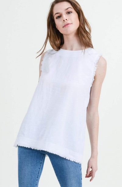 Cotton Bleu Dressy Small / pure white Sleeveless Button Down Back Top