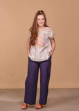 Cotton Bleu Full Length Navy Wide Leg Pants