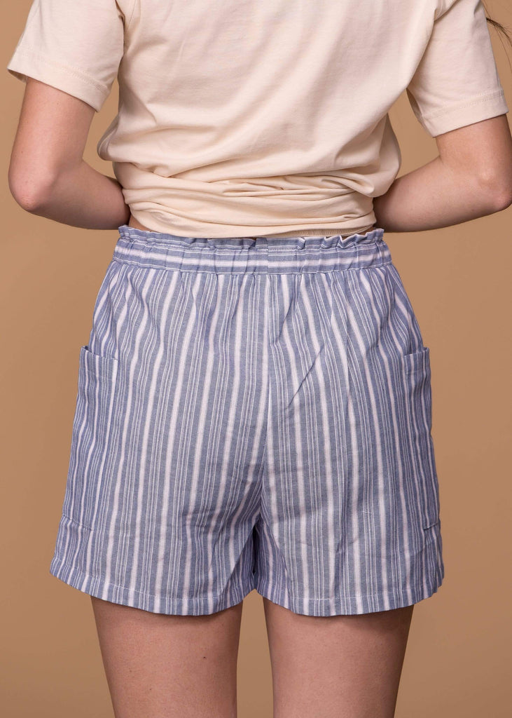 Cotton Bleu Shorts Striped Shorts With Tie Front - Denim