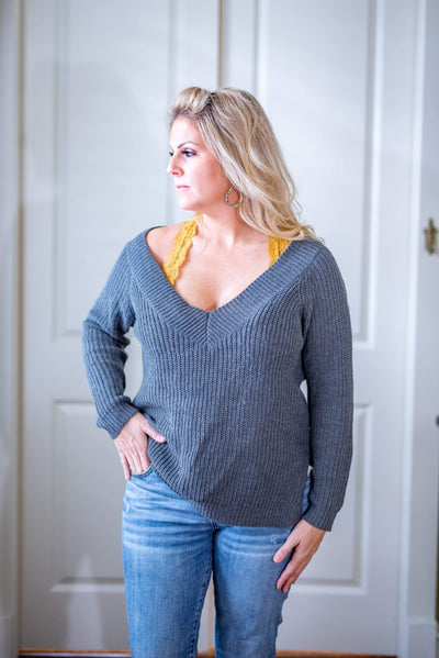 Cozy Casual Casual V-Neck Sweater - Grey