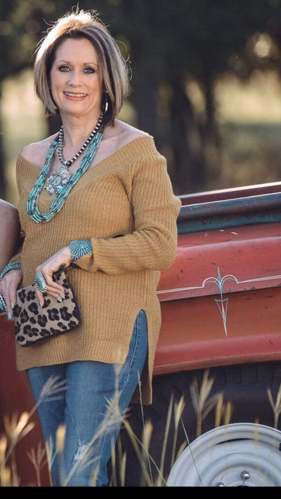 Cozy Casual Casual V-Neck Sweater - Mustard
