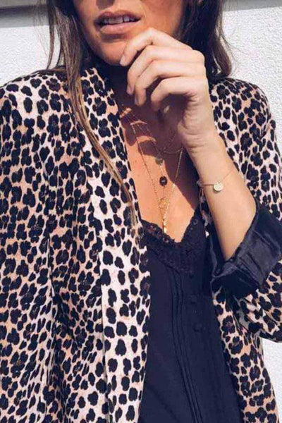 Dear Lover Blazers Open Front Long Sleeve Blazer-Leopard