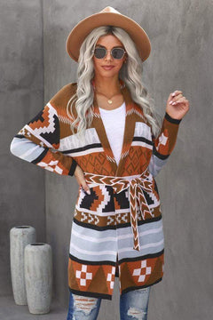 Tribal Aztec Tie Cardigan Sweater