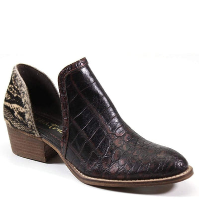 Diba Booties Leather Croc Ankle Boot