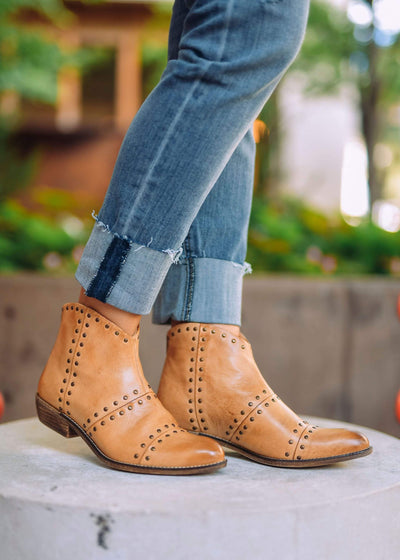 Diba Booties Luggage Leather Studded Bootie