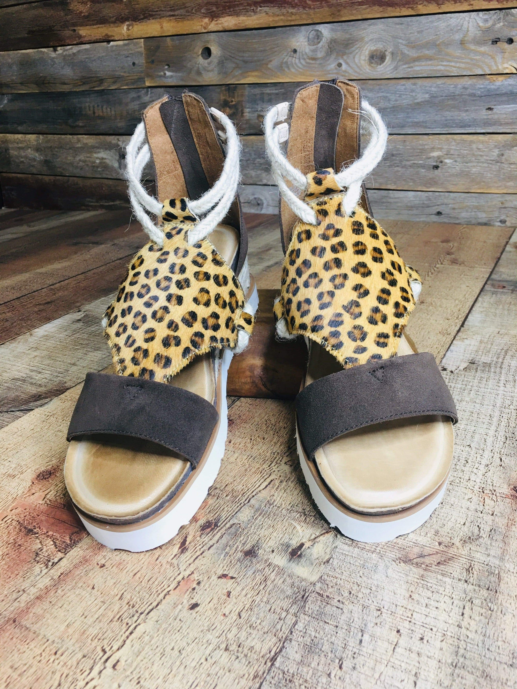 Diba Wedges Leopard & Rope Leather Sandals