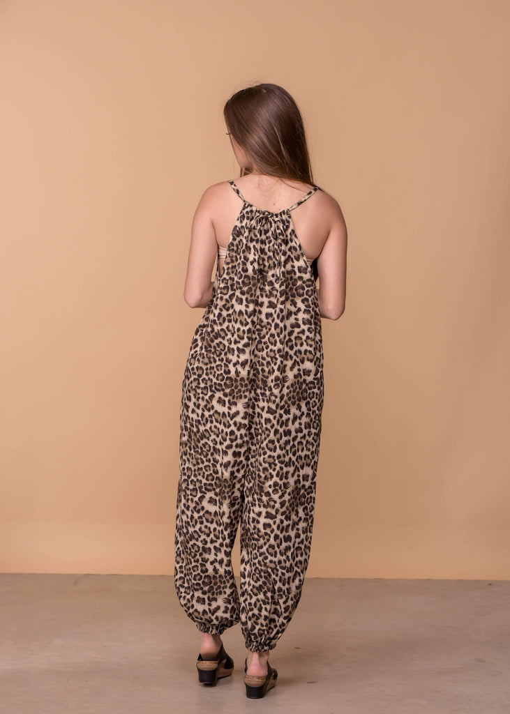 Easel Dresses Leopard Print Gathered Tie Jumpsuit