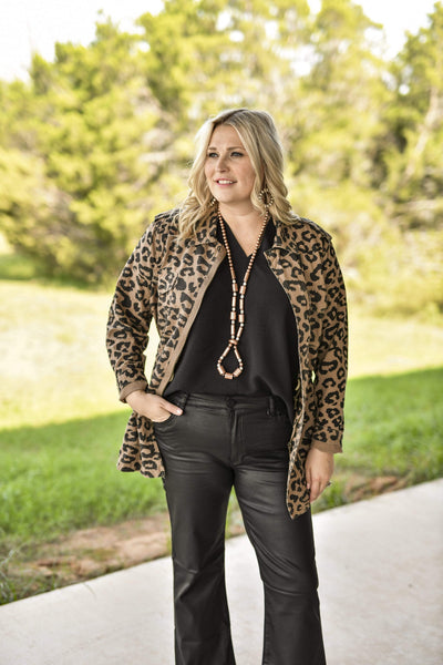 Ellison Jackets Leopard Print Adjustable Waist Jacket - Mocha