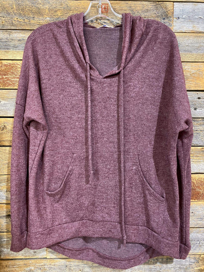 Enti Casual Super Soft Relaxed Hoodie - Heather Burgundy