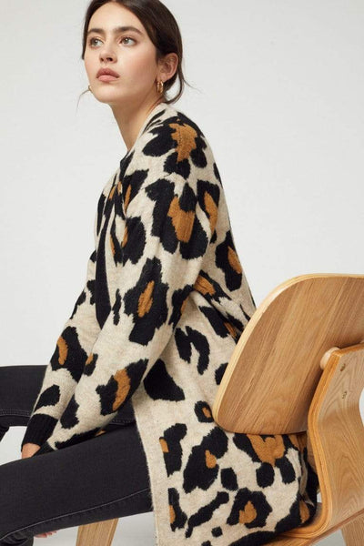 Entro Cardigans Leopard Print Sweater Cardigan