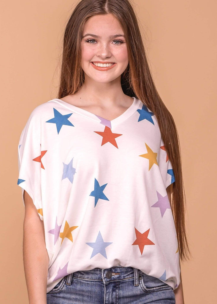 Entro Casual Stars V Neck Top - Ivory