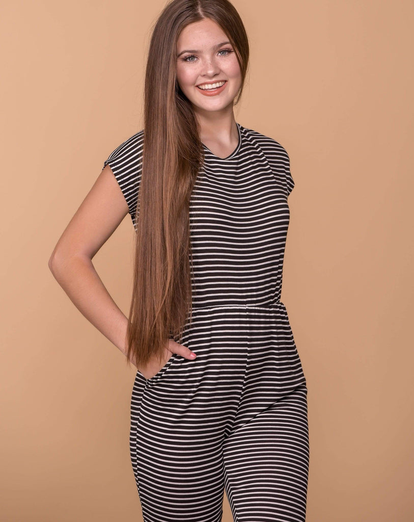 Entro Dresses Black and White Striped Jumpsuit