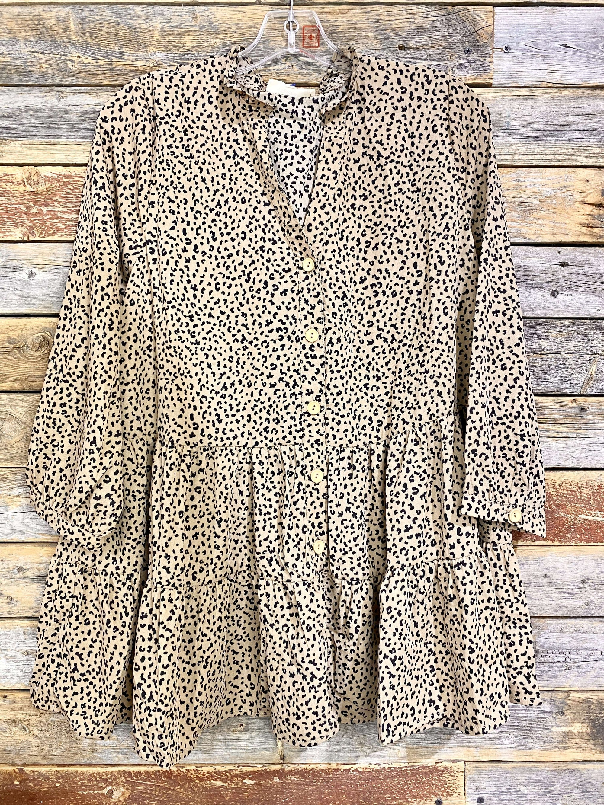 Tiered Leopard V-Neck Blouse