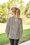 Entro Dressy Animal Print Balloon Sleeve Blouse