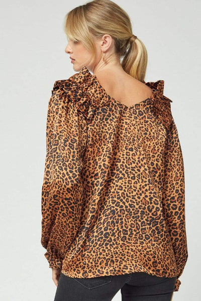 Entro Dressy Leopard Ruffle Shoulder Long Sleeve Blouse