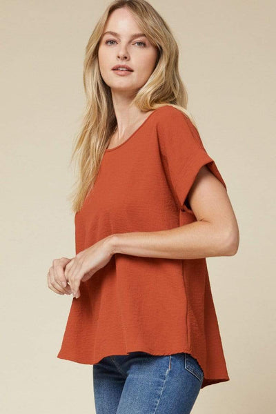 Entro Dressy Rust Scooped Neck Rolled Sleeve Blouse