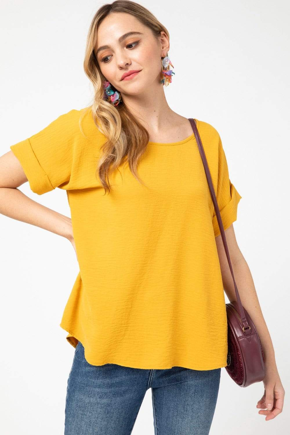 Entro Dressy Scoop Neck Rolled Short Sleeve Top - Mustard