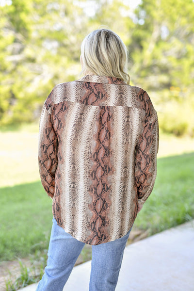 Entro Dressy Snake V Neck Collar Button Blouse-Brown