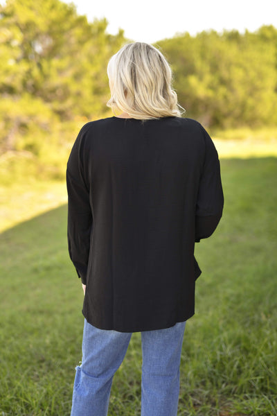 Entro Dressy V Neck Dolman 3/4 Sleeve Blouse - Black