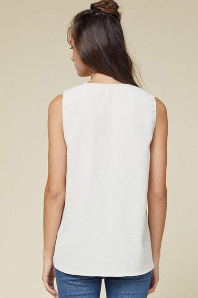 Entro Dressy V Neck Sleeveless Blouse-OATMEAL
