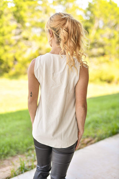 Entro Dressy V Neck Sleeveless Blouse Oatmeal