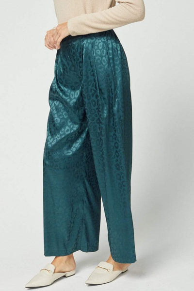 Entro Full Length Satin Leopard Wide Leg Pant - Teal