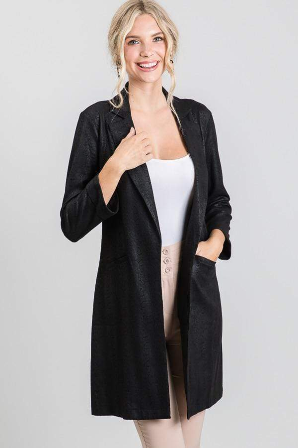Black Snake Print Stretch Velvet Long Blazer
