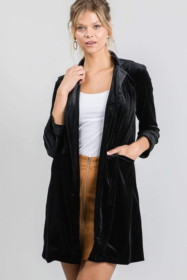 Stretch Velvet Long Blazer Black
