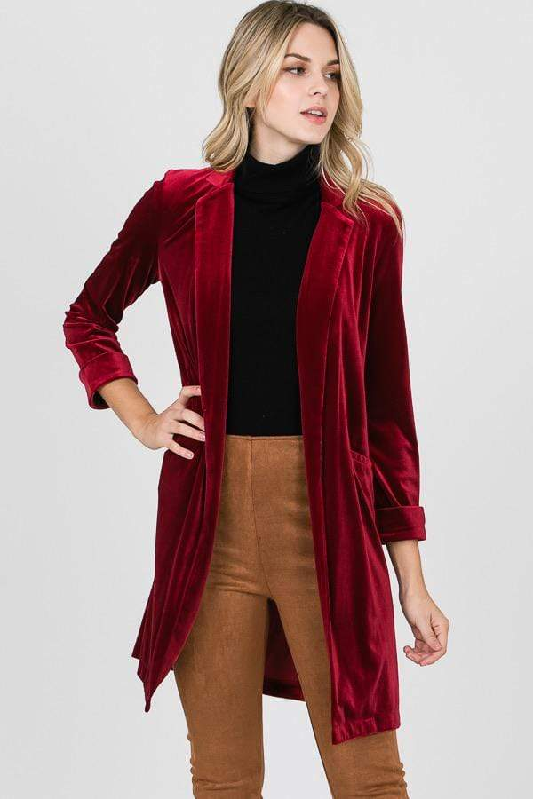 Stretch Velvet Long Blazer Burgundy