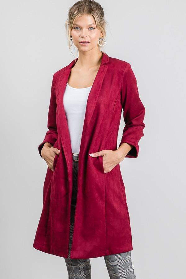 Burgundy Suede Long Duster Blazer