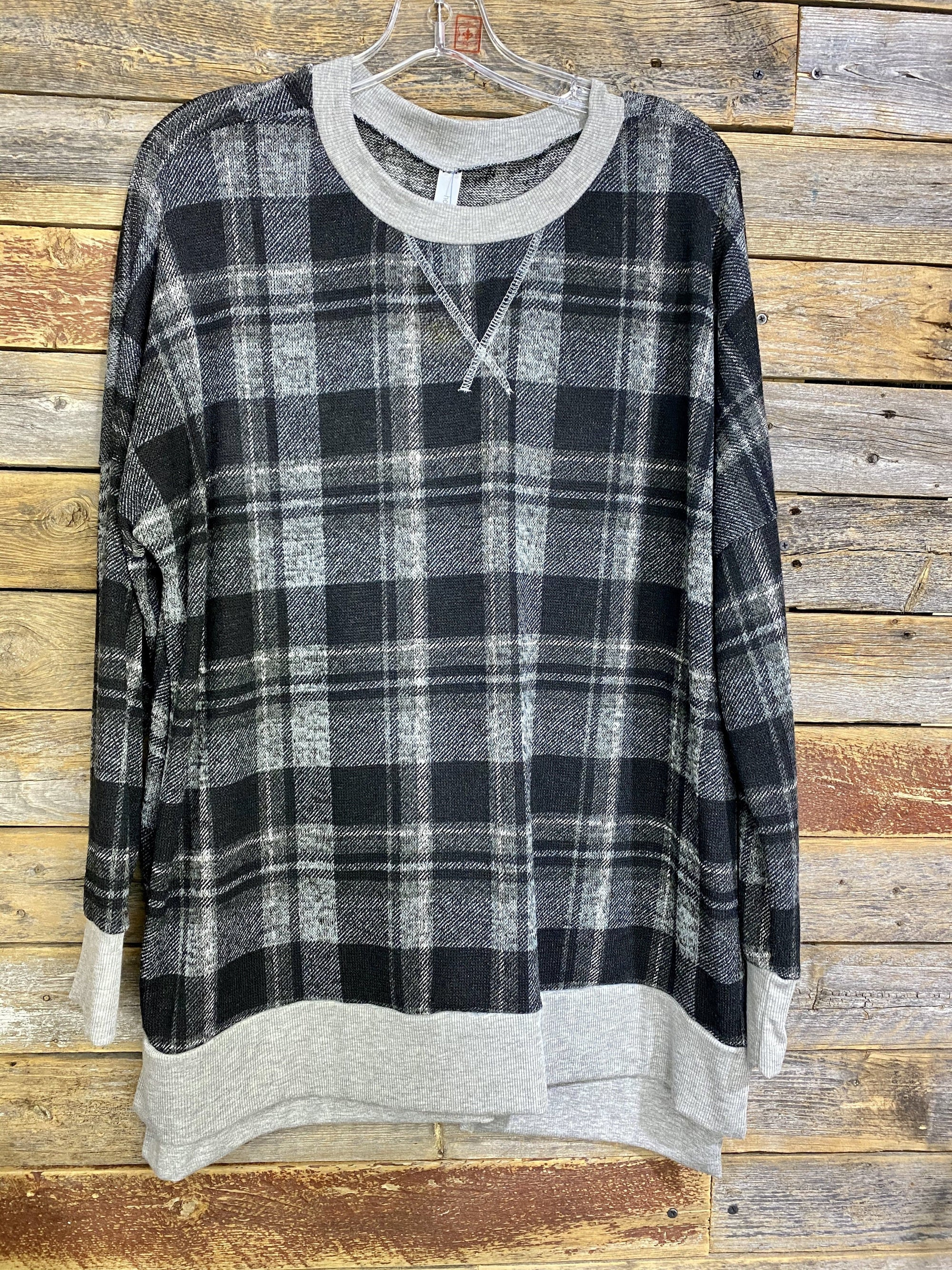 Grey Plaid Weekender Top