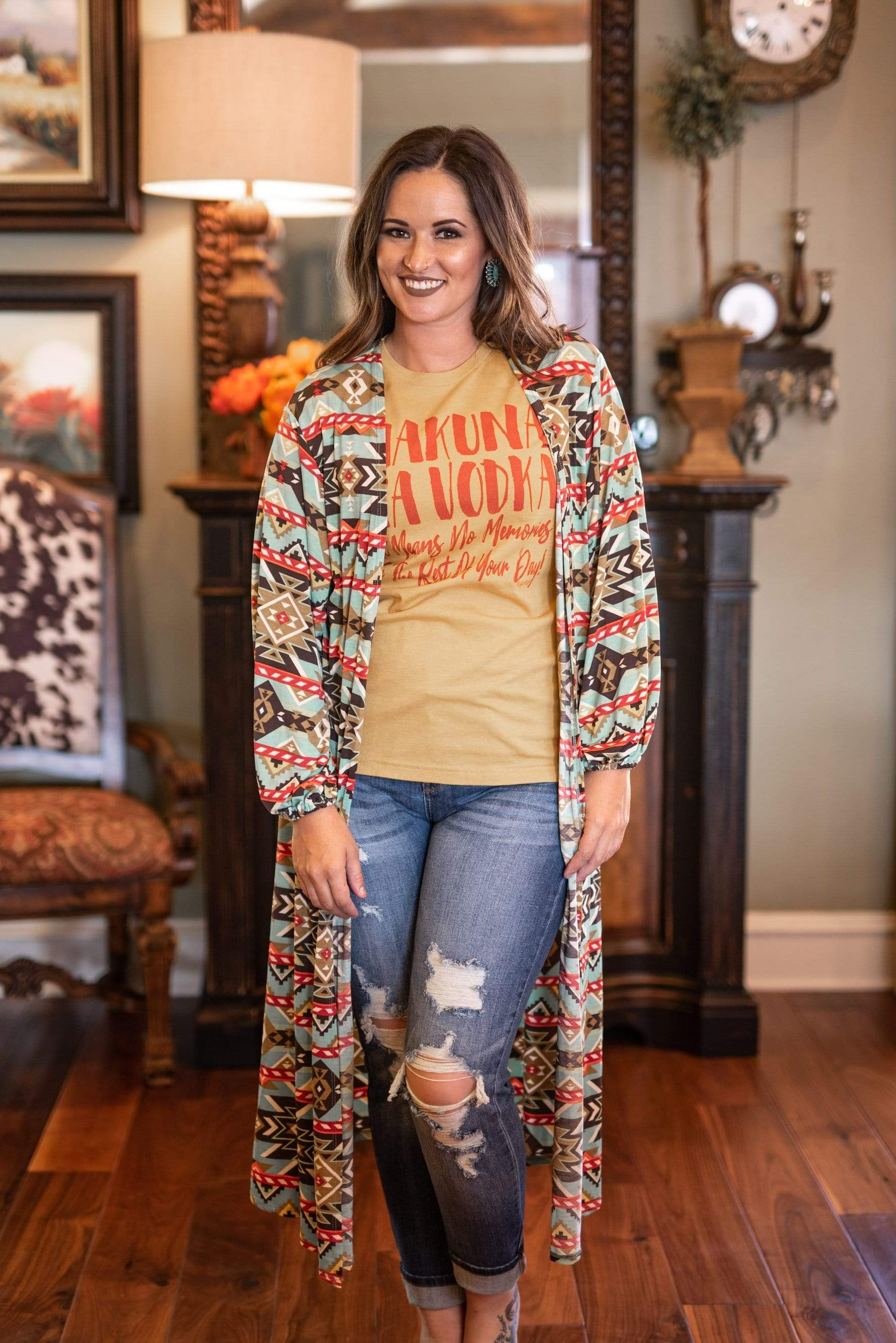 Honey Me Cardigans Aztec Duster