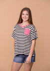 Honey Me Casual Black and White Striped Shirt with Pink Pocket