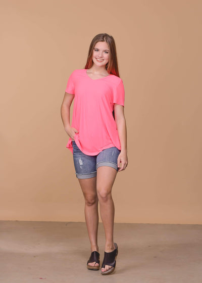 Honey Me Casual Neon V - Neck Top - Pink