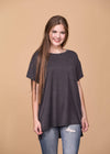 Honey Me Dressy Short Sleeve Pocket Scoop Neck Top - Black