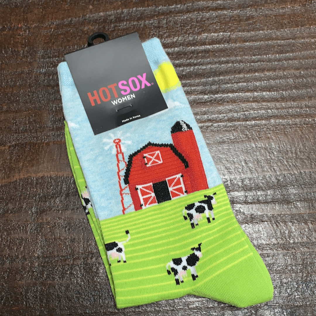 HotSox Socks Red Barn with Cows