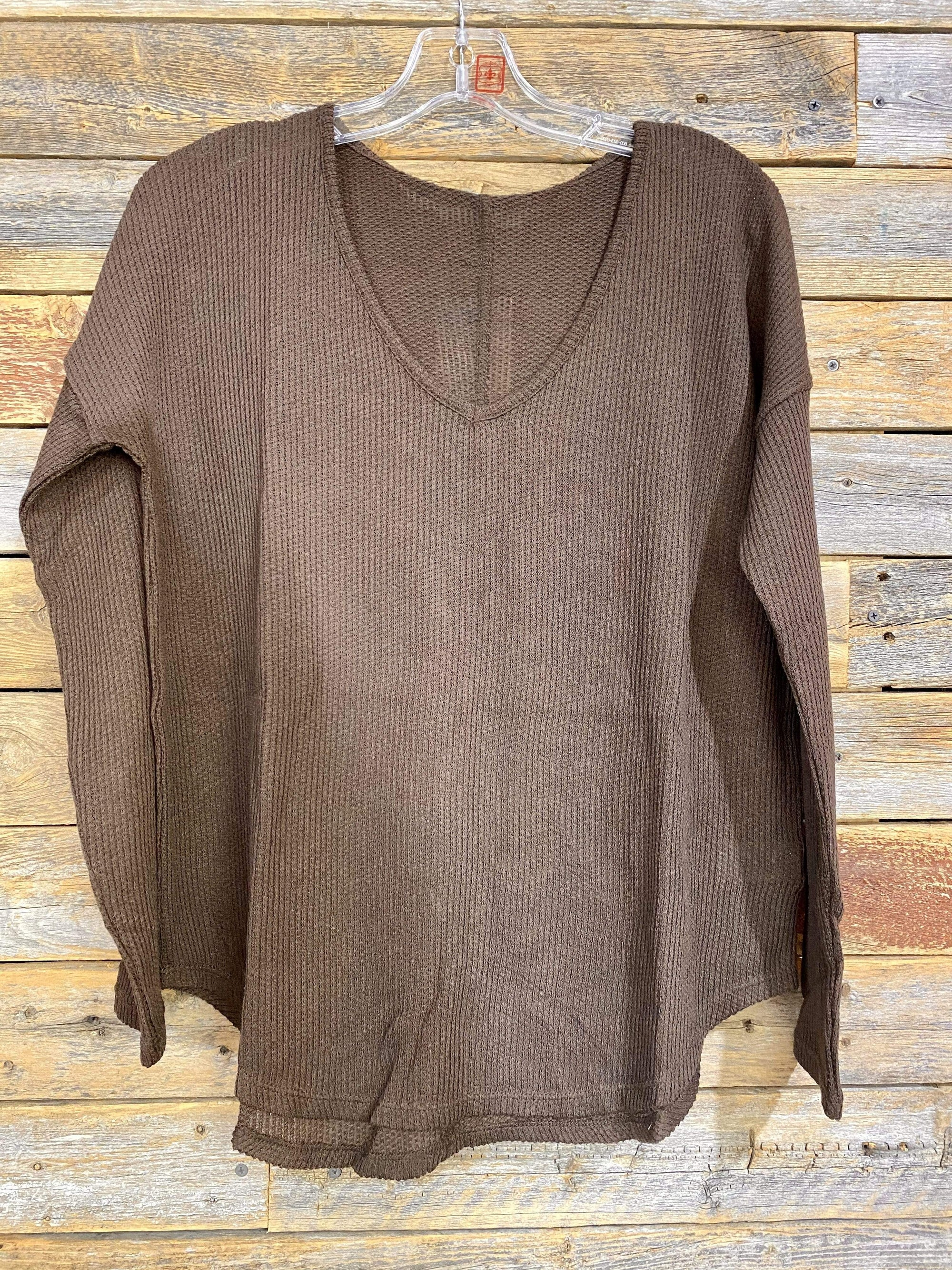 Dolman Waffle V Neck Top - Chocolate