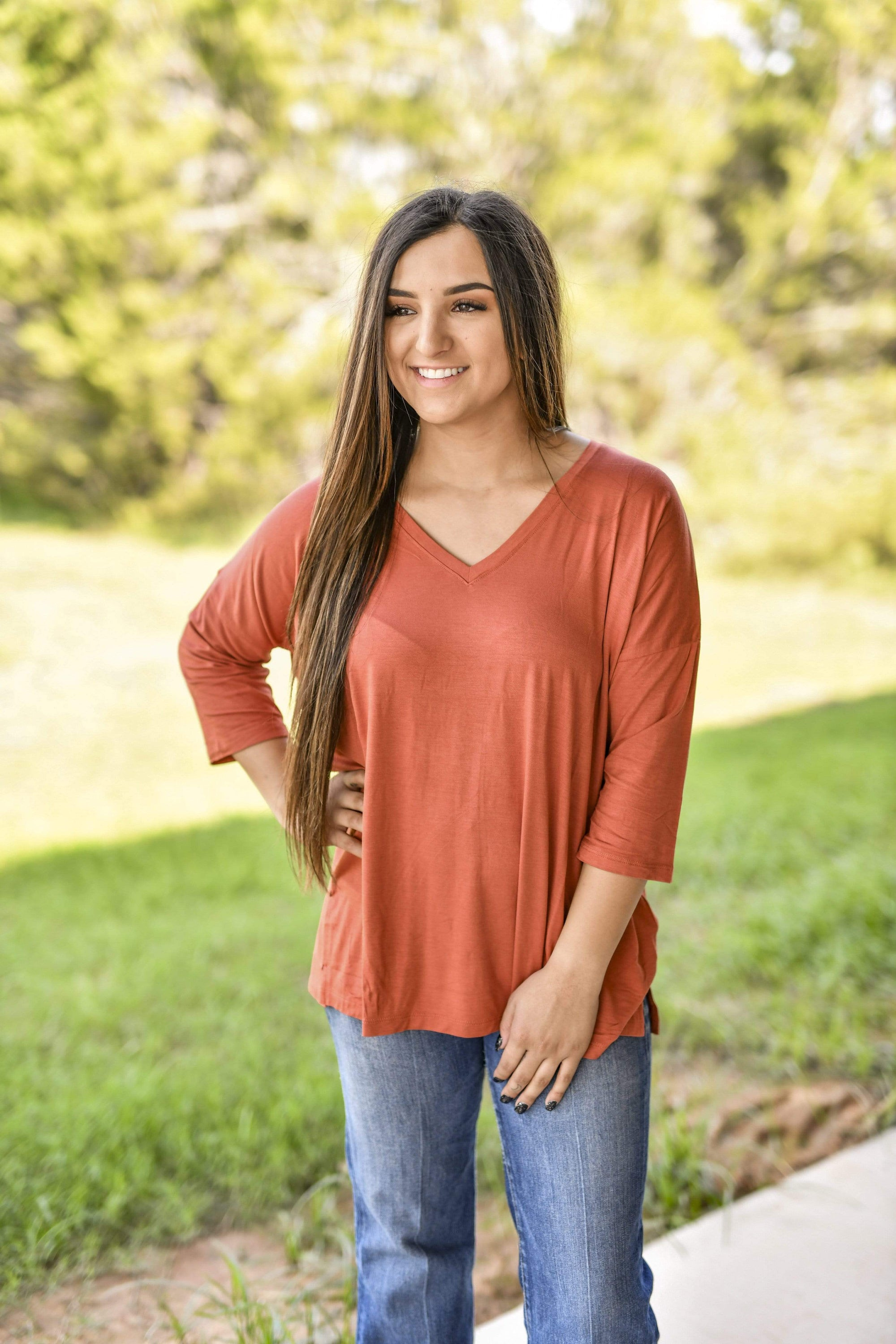 Light Weight V Neck 3/4 Sleeve - Terra Cotta