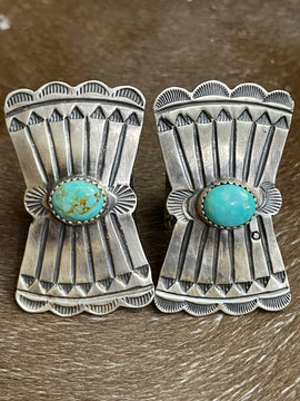 Wesley Vertical Shield Ring with Turquoise Stone - Blue
