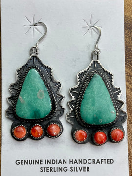 Holly Turquoise & Spiny Fish Hook Earrings