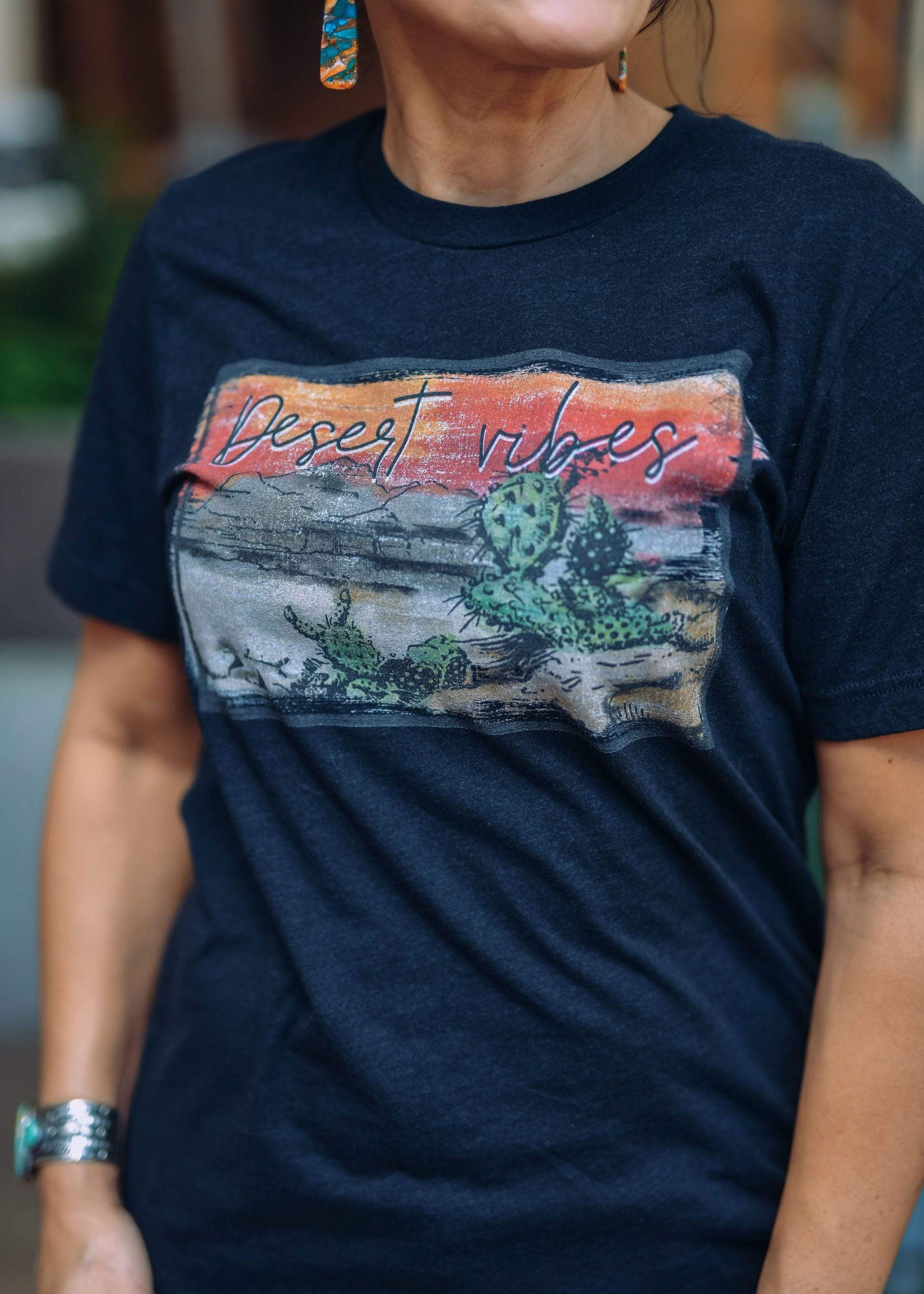 J. Forks Graphic Tees Desert Vibes Graphic Heather Black
