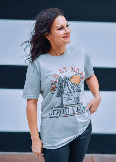 J. Forks Graphic Tees Wild at Heart Desert Graphic Tee - Grey