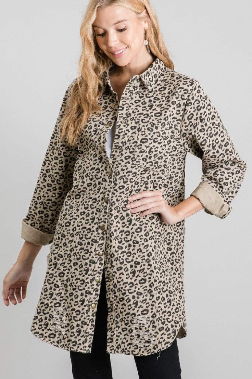 Animal Print Long Sleeve Button Down