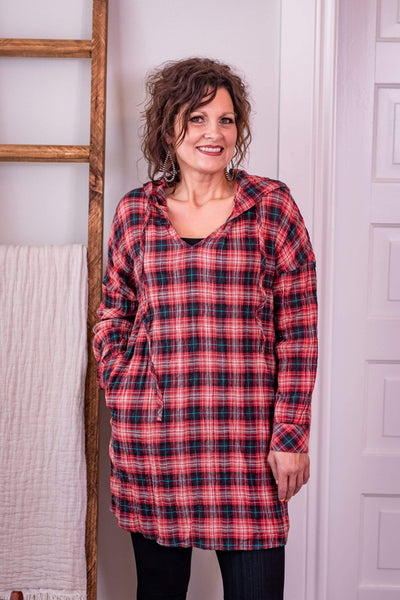 Jodifl Dresses Red Plaid Tunic