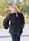 Jodifl Dressy Black Sheer Ornate Draped Balloon Sleeve Blouse