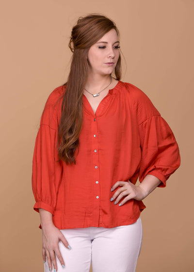 Jodifl Dressy Button Front V - Neck Blouse - Red