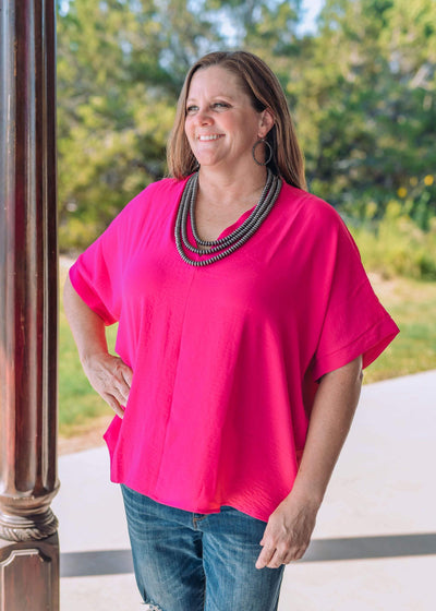 Jodifl Dressy Dally V Neck Oversized Blouse - Magenta